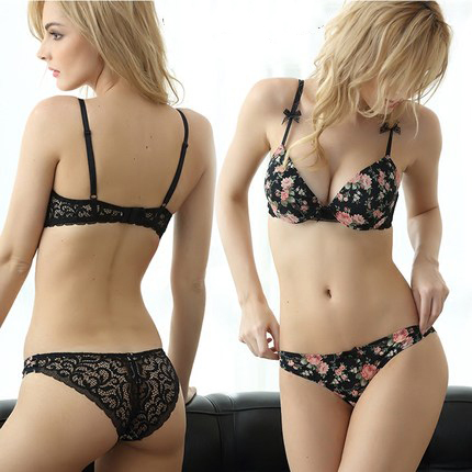 Seamless Floral Push Up Bra Set 3/4 Cup Small Chest Halter Plunge Bra Pink Romantic Temptation Lace Women Underwear Set VS