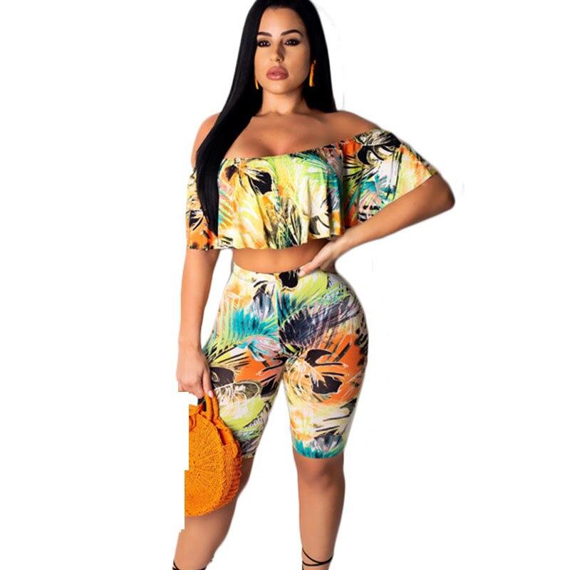 Volants Boho été plage 2 pièces tenues imprimer deux pièces Shorts ensembles femmes bretelles haut court pantalon ensembles volants pantalon costumes