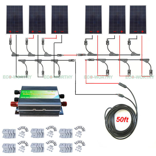 900W 24V Off Grid Solar System Kit 6x 150W Panel 45A Solar Charging
