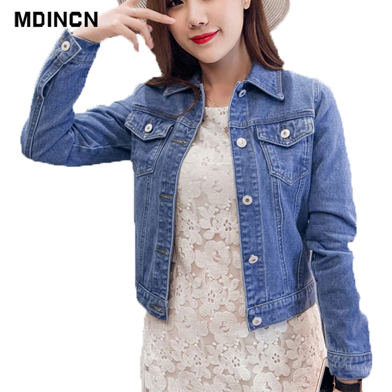 2019 Autumn And Winter Women Denim Jacket Vintage Cropped Short Denim   Coat   Long-Sleeve Slim Jeans   Coat