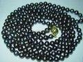 """Envío libre de la nueva manera 2014 con encanto Impresionante! 7-8mm Negro Perlas Cultivadas de akoya Collar 50 """"W0209"""