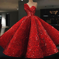 Sparkle Muslim Evening Dresses 2018 Ball Gown One shulder Red Sequins Islamic Dubai Kaftan Saudi Arabic Long Evening Gown