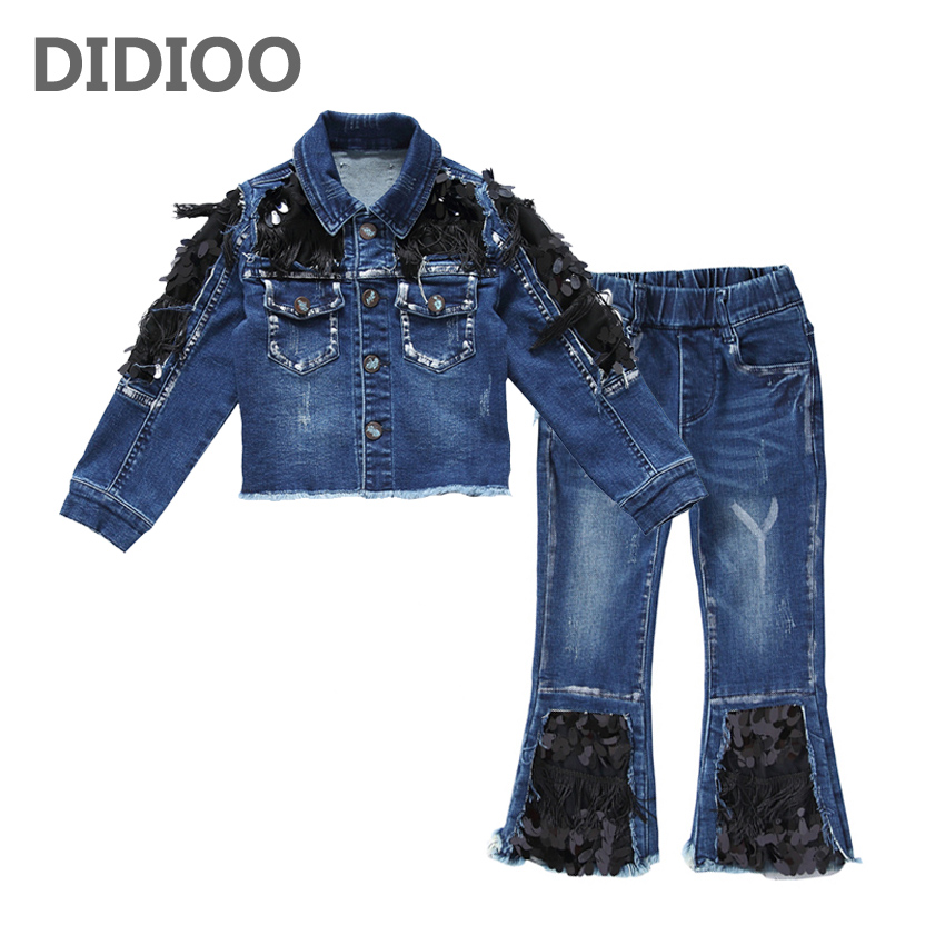 Girls Clothing Sets Casual Denim Jackets For Girls Jeans 2Pcs 2017 Autumn Kids Coats Girls Denim Pants Spring Children Outfits pioneer camp 2017 new arrival spring jeans men famous brand clothing denim trousers men fashion casual male denim pants 611048