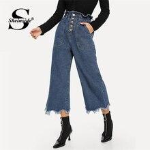 Sciolto Solido pantaloni Blu