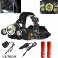 6000 LM Cree XM-L T6 Head Lamp High Power LED Headlamp 4Mode  LED Headlight+EU/US Charger+2x18650 battery For Hunting/Camping