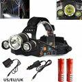 6000 LM Cree XM-L T6 Head Lamp LED Farol 4 Modo de Alta Potência LEVOU Farol + Carregador UE/EUA + 2x18650 bateria Para Caça/Camping