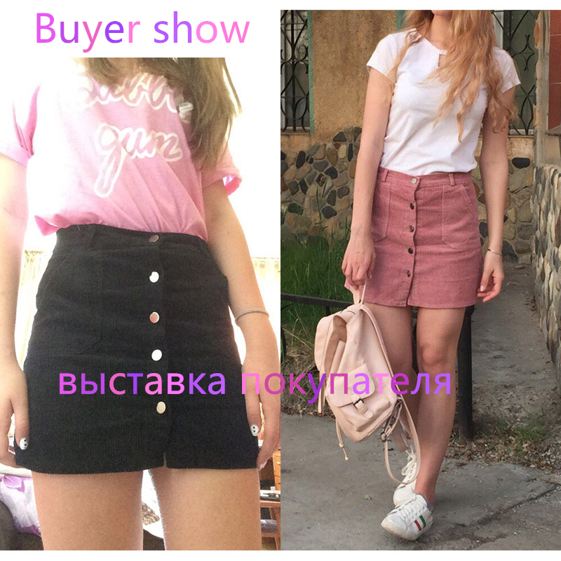 2017 Spring Harajuku Office Lady School Women's Short Skirt Denim Style Button A-line Corduroy High Waist Pocket Mini Skirt