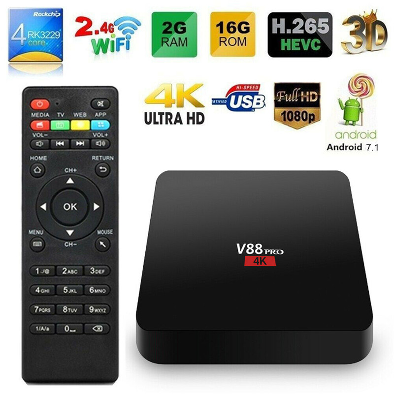 V88 PRO 4K Android 7.1 TV BOX RK3229 Quad Core 2GB+16GB WiFi USB Media Set Top BoxV88 PRO 4K Android 7.1 TV BOX RK3229 Quad Core 2GB+16GB WiFi USB Media Set Top Box
