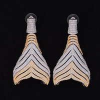 Jimbora Vintage Cubic Zirconia Leaves Geometric Engagement Dangle Earrings Jewelry For Women
