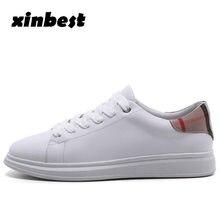 Xinbest Mulheres Skate Sapatos Brancos Genuínos de Couro Sapatos de Desporto  Para Homens Tênis Ao Ar e80426d00d0