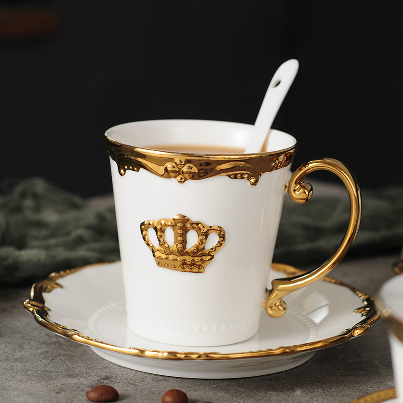Nordic Style Elegant Coffee Cups and Saucers Ins Gold Milk ...