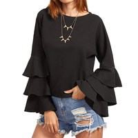 ZANZEA Plus Summer Women O Neck Long Bell Sleeve Casual Oversized Blouse Shirt Tops Elegant Ladies