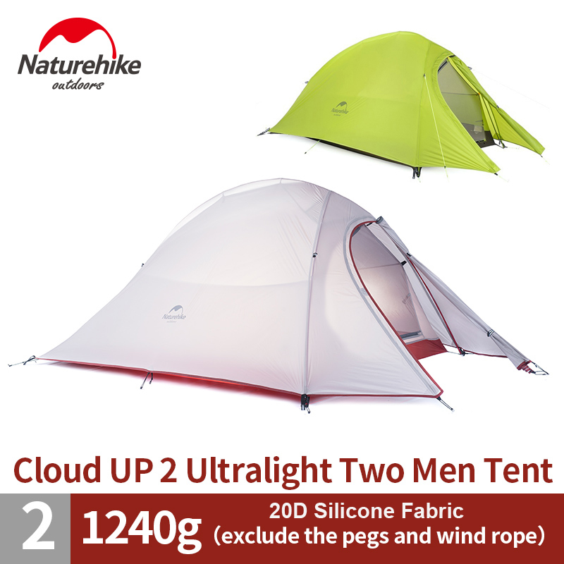 1.2KG NatureHike 2 Person Tent  20D Silicone/210T Plaid Fabric Tent Double-layer Camping Tent NH15T002-T high quality outdoor 2 person camping tent double layer aluminum rod ultralight tent with snow skirt oneroad windsnow 2 plus