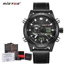 RISTOS кожаные часы Топ бренд Relojes Masculino Hombre многофункциональный хронограф мужские спортивные аналоговые цифровые модные часы 9342