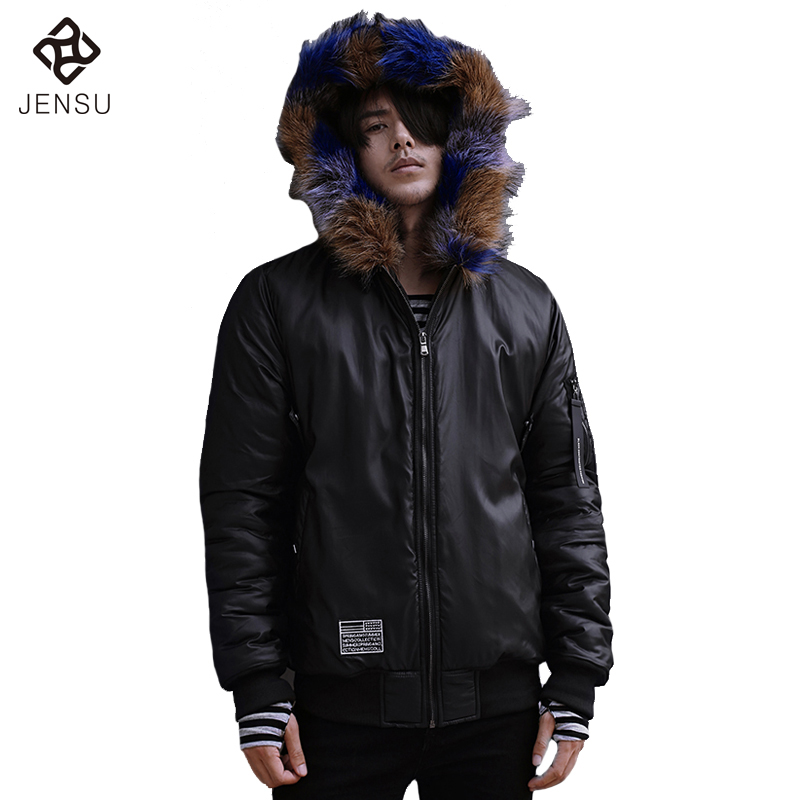 ФОТО 2016 Men Winter Down Jackets With Fur Coats Jaqueta Masculina Men's Casual Fashion Slim Fit Cotton Hooded Veste Homme Jackets