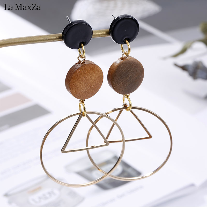 Natural Wood Earring Wooden Earrings For Women Exaggerated Statement Triangle Round Long ...