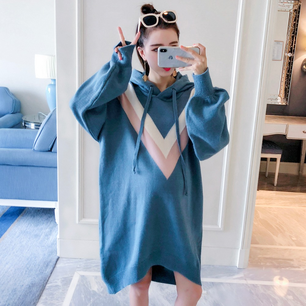 цены Pregnant women sweater long-sleeved maternity dress 2018 autumn new fashion large size hooded shirt color matching sweater