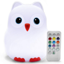 Cute Bird LED Night Light Touch Sensor Remote Control 9 Colors Dimmable Timer USB Rechargeable Silicone Lamp for Children Baby