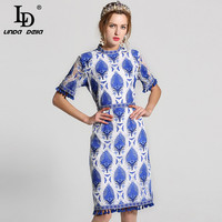 High Quality 2017 Summer New Designer Runway Dress Women S Elegant Short Sleeve Blue White Printed