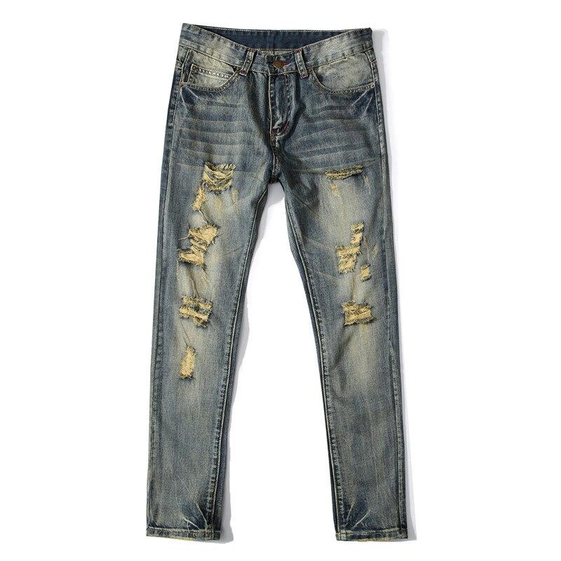 NEW Biker Mens Jean Biker Jeans Spring Slim Fit Pleated Motorcycle Denim Pants Trousers Punk Classic Male skinny Jeans Men punk rave new products elastic coarse slanting stripe punk male trousers slim fit jeans