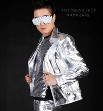2016 Fashion men's clothing rivet silver motorcycle leather jacket ourterwear male signer DJ show stage show clothing costumes