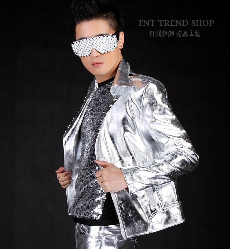 2016 Mode Herrenbekleidung Niet Silber Motorrad Lederjacke Ourterwear Männlichen Signer Dj Zeigen Bühnenshow Kleidung Kostüme Mild And Mellow