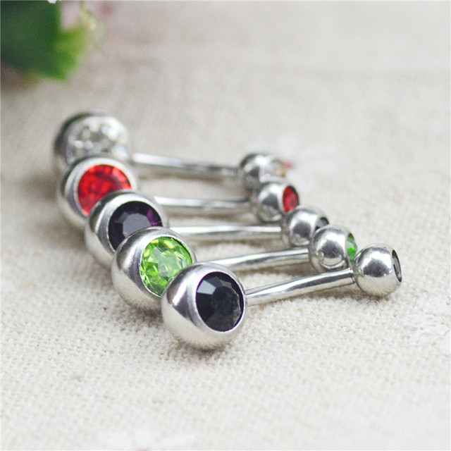 Silver Plated Body Piercing Jewelry Bar Ball Barbell Belly Navel Button Ring