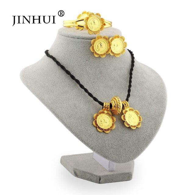 Jin הואי 2019 האתיופית תכשיטי סטי גדול מטבע תליון שרשרת עגיל טבעת זהב מתנות לנשים אפריקאי אריתריאה Habesha תכשיטים