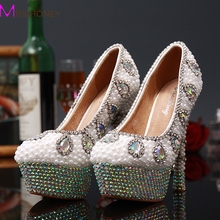 AB Crystal High Heels Bridal Wedding Dress Shoes Full Pearl Round Toe Lady Evening Party Pumps Shoes Stiletto Heel Woman Shoes