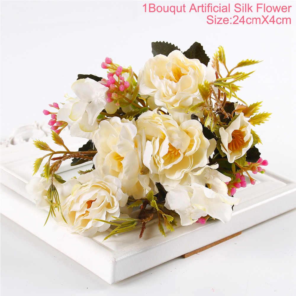 1 Bouquet di Peonia Fiori Artificiali FAI DA TE Decorazione Del Partito di Seta Dell'annata Fiori Artificiali Piccola Rosa di Nozze Fiori Finti Festival