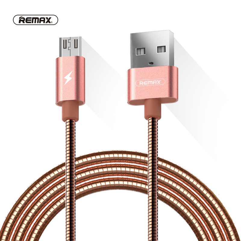 Remax Metallic Spring Micro Usb Knowledge Sync Cable 2.1A Twin Facet Usb Charger Quick Charging Cables For Iphone X Samsung Xiaomi Huawei