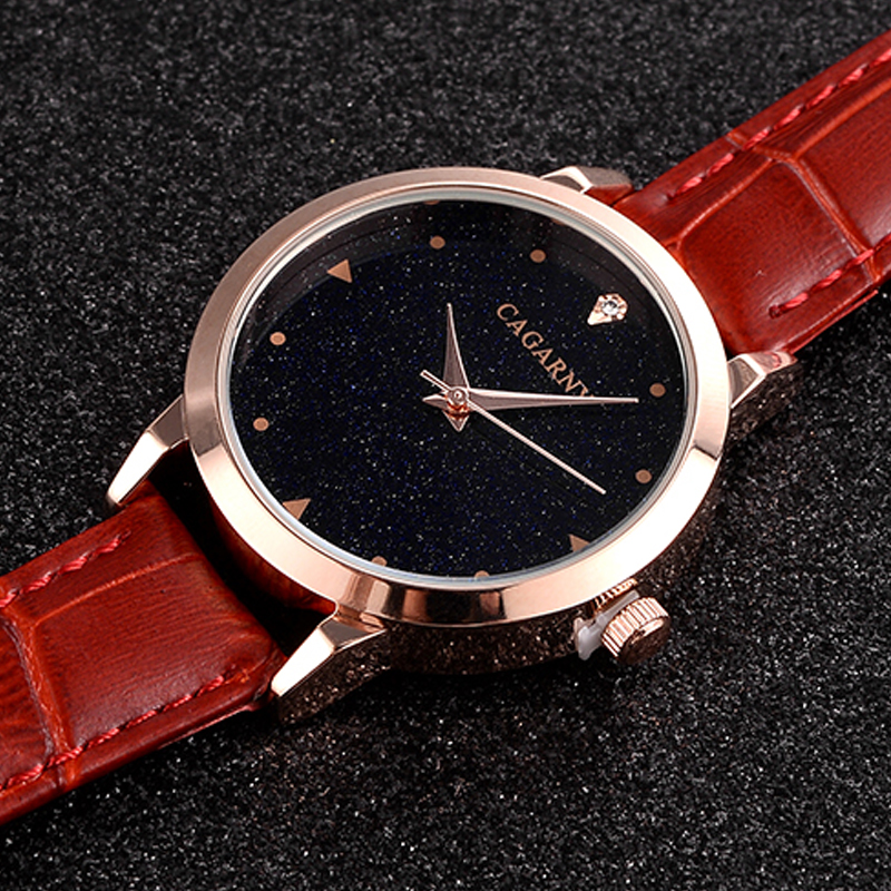 luxury brand cagarny quartz watch for women blue sky dials creative casual ladies watches rose gold case drop shipping (38)