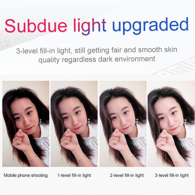Wired Selfie Stick For iPhone With Beauty-Skin Fill Light Rear Mirror