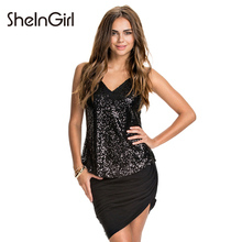 SheInGirl New Fashion Sexy Women Camis Tank Black Sequin Basic Party Strap Tank Slim Backless V Neck Off Shoulder Brief Tops