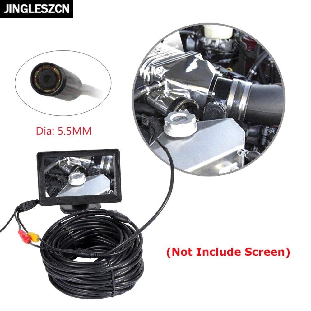 JINGLESZCN AV Endoscope Caméra 5.5mm Objectif 1 m/5 m/10 m/15 m/20 m Longueur 12 V Mini NTSC Étanche D'inspection Endoscope Cam Serpent Tuyau