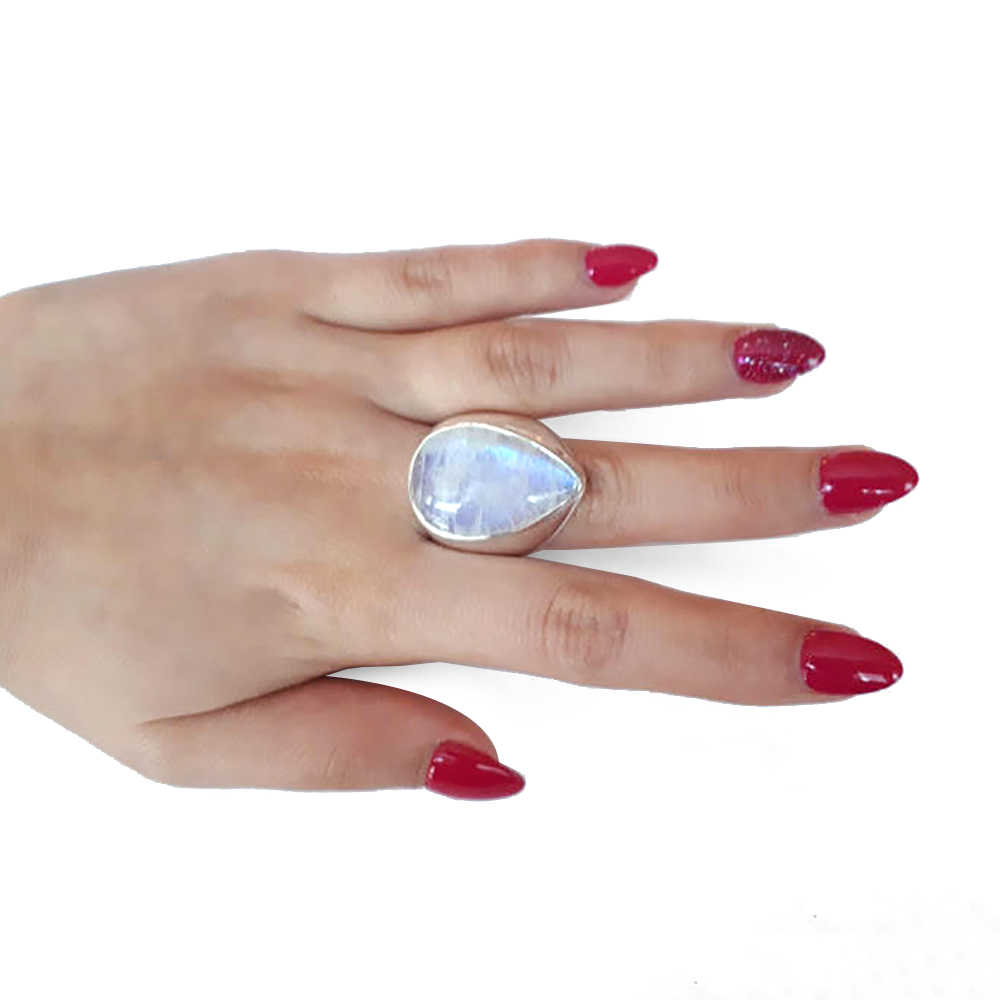 แฟชั่นผู้หญิงสาวสีขาวมูนสโตนธรรมชาติแหวนเงินงานแต่งงานเจ้าสาวแหวนเครื่องประดับขนาด 6-10