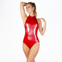 Women Mock Neck Gymnastics Leotards Metallic Sparkle Suit Ballet DanceWear One Piece Bodysuit For Stage Performance