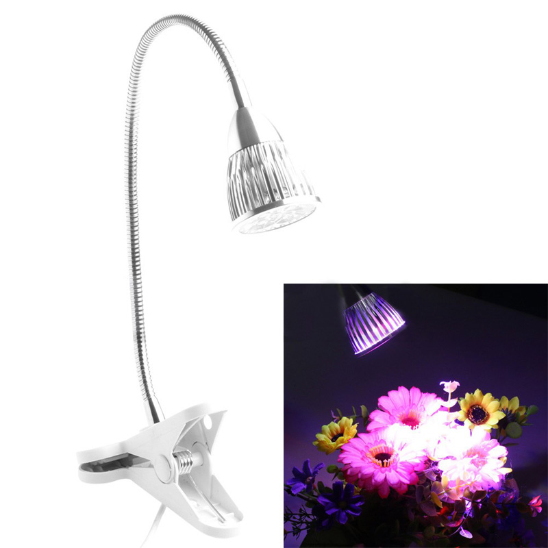 Hydrohopbic 15W LED Plant Grow Light Desk Full Spectrum Clip On Clamp Lamp
