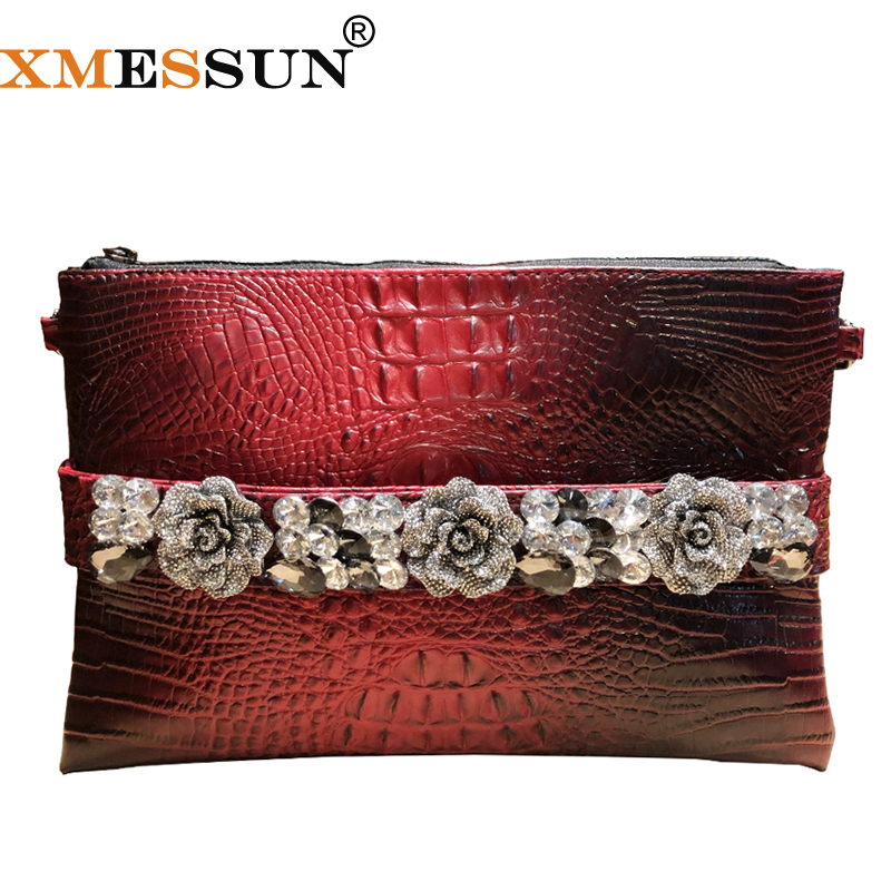 XMESSUN Crocodile Pattern Studded Female Clutch Bag 2019 New Fashion Retro Banquet Pouch Women Party Shoulder