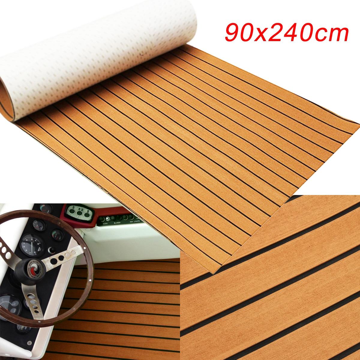 1PC 240cmx90cmx5mm Self-Adhesive Gold With Black Lines Marine Flooring Faux Teak EVA Foam Boat Decking Sheet