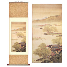 ShaoFu Chinese Famous Landscape Painting Canvas Fabric Lake Village Spring Morning Vintage Elegant Wall Arts Business Gifts