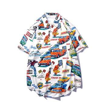 a796df46bb7ebd2 Модные летние мужские рубашки с коротким рукавом в стиле хип-хоп, японские  уличные Гавайские пляжные повседневные Цветочные стандартные дл.