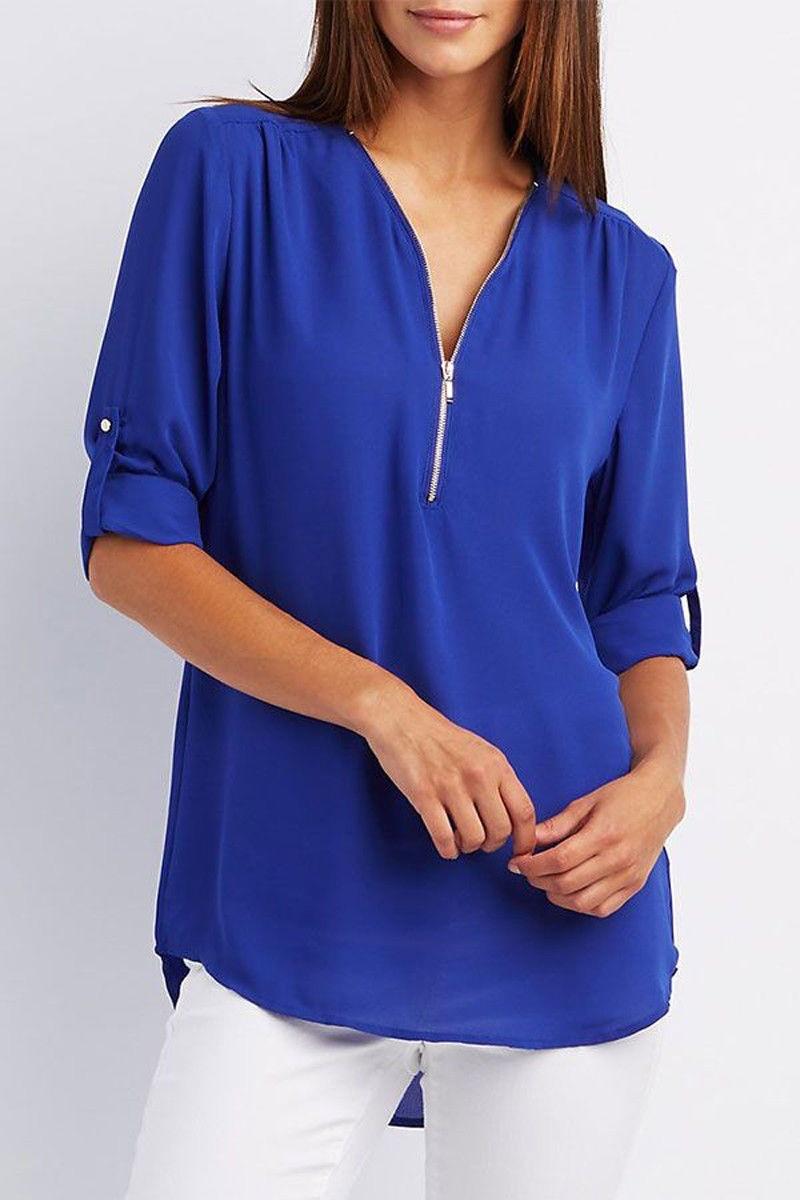 LOSSKY fashion v neck short sleeve summer chiffon womens tops 4