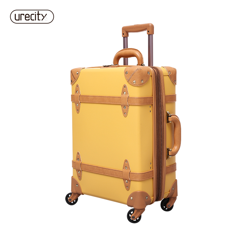 2018 Travel suitcase PP Leather rolling luggage inch hand-made retro elegant pp genuine leather original design free shipping free shipping original rolling wheel axis kit parrot minidrones rolling spider parts genuine