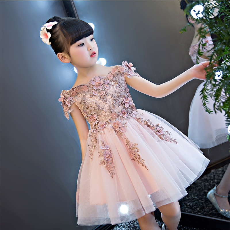 Off the Shoulder Formal Dress Party Appliques Flower Girl Dresses for Wedding Knee Length Ball Gown Princess Dress Evening B29