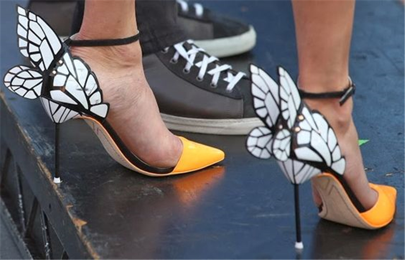 Trail Lackleder Hochzeit Schmetterling Frauenpumpen Mode offene Party zeigte High Sexy Schuhe Heels Strap OuXZTkPi