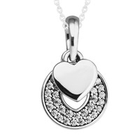 100% 925 Sterling Silver Necklace Celebration Hearts Clear CZ Pendants Necklaces for Women Wedding Party Gift Wholesale