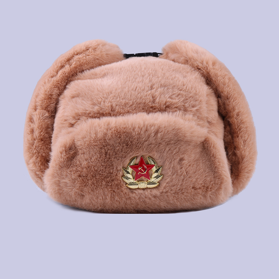Soviet Badge Ushanka Russian Men Women Winter Hats Faux Rabbit Fur Army Military Bomber Hat Cossack Trapper Earflap Snow Ski Cap-in Men's Bomber Hats from Apparel Accessories