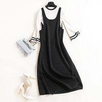 New Winter Two Piece Set Striped Flare Sleeve O Neck Black Fashion European And American Style