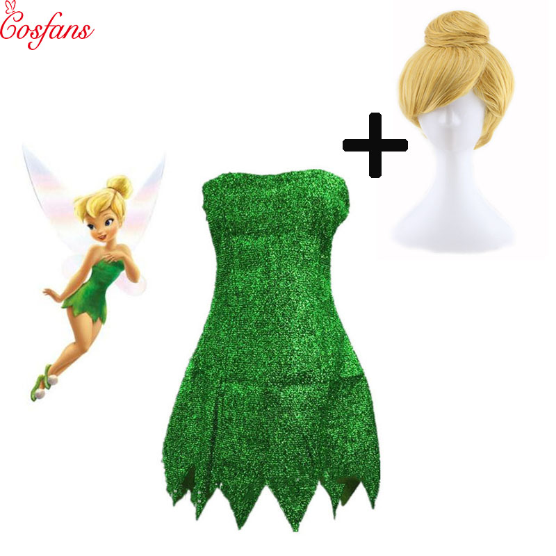 2019 New Pixie Fairy Cosplay Costume Tinker Bell Green Adult Dress Tinkerbell Halloween Party Sexy Cosplay Mini Dresses With Wig
